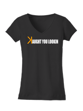 who's on first caught kaught you looking women's v-neck shirt black