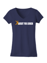 who's on first caught kaught you looking women's v-neck shirt navy