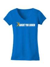 who's on first caught kaught you looking women's v-neck shirt royal