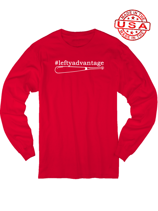 who's on first lefty advantage long sleeve shirt red