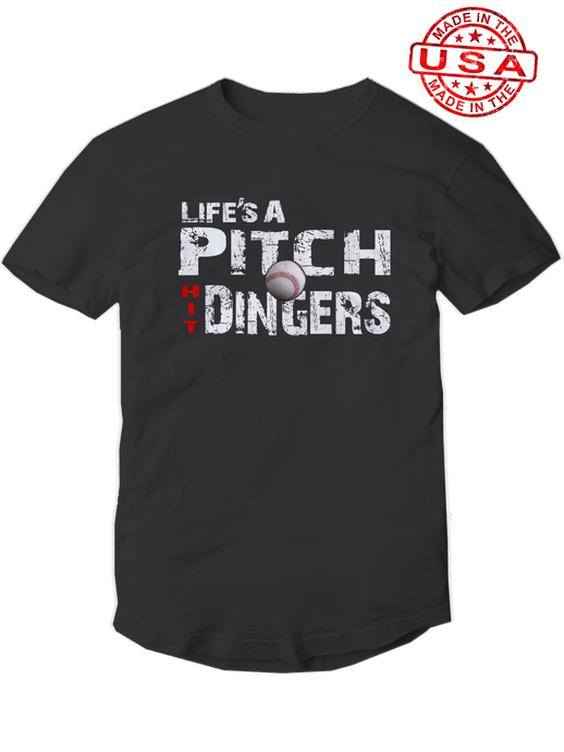 who's on first life's a pitch hit dingers baseball shirt black