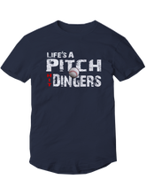 who's on first life's a pitch hit dingers baseball shirt youth navy