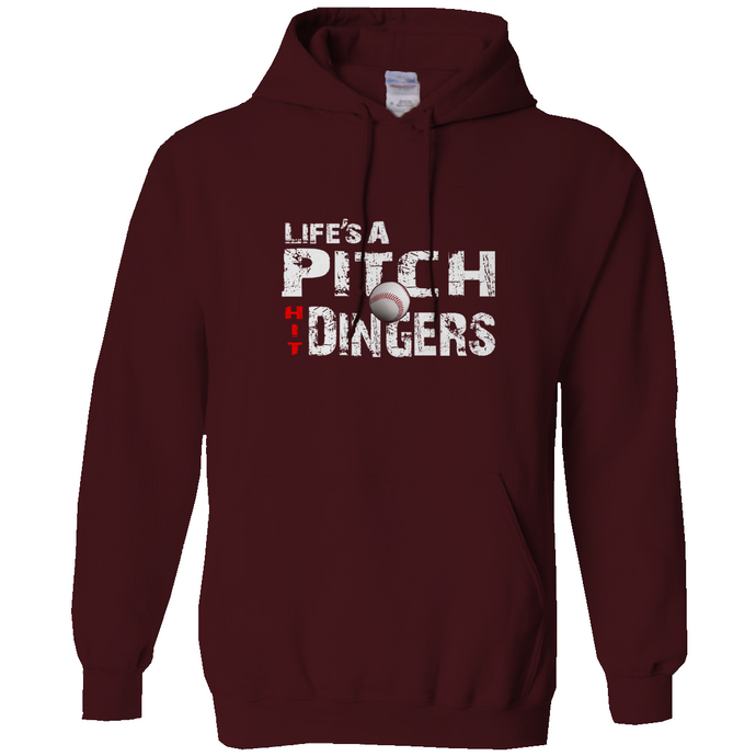 who's on first life's a pitch hit dingers hoodie maroon
