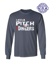 who's on first life's a pitch hit dingers long sleeve shirt asphalt