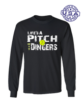 who's on first life's a pitch hit dingers softball long sleeve shirt black