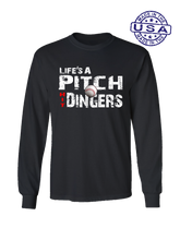 who's on first life's a pitch hit dingers long sleeve shirt black