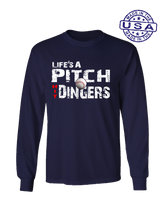 who's on first life's a pitch hit dingers long sleeve shirt navy