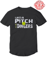 who's on first life's a pitch hit dingers softball shirt black