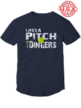 who's on first life's a pitch hit dingers softball shirt navy