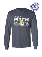 who's on first life's a pitch hit dingers softball long sleeve shirt asphalt