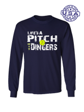 who's on first life's a pitch hit dingers softball long sleeve shirt navy