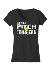 who's on first life's a pitch hit dingers softball women's tee black