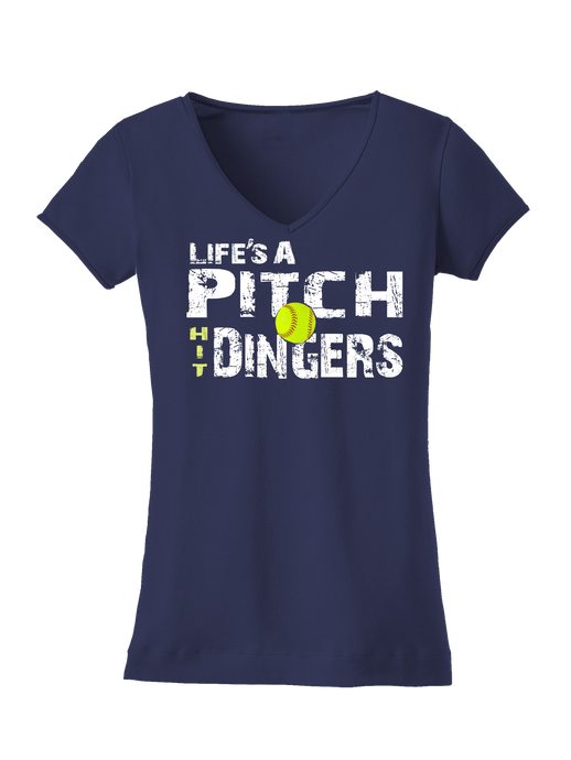 who's on first life's a pitch hit dingers softball women's tee navy