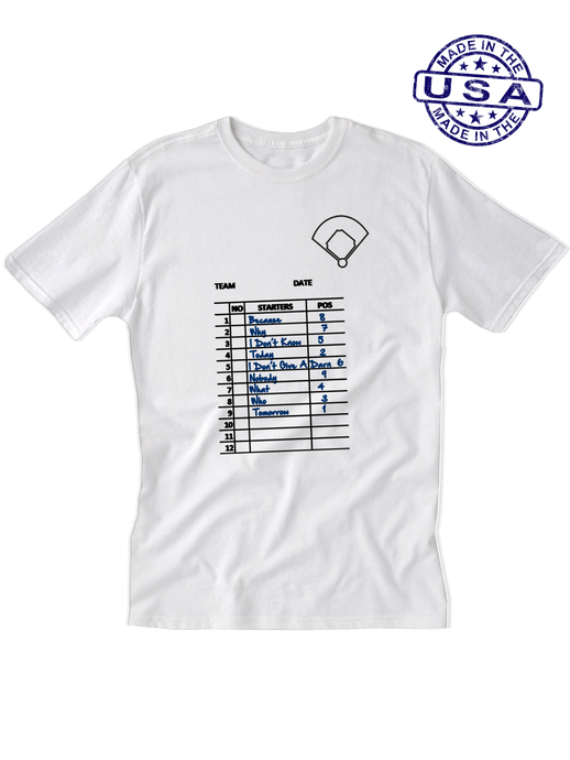 who's on first, the lineup unisex t-shirt white