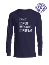 who's on first hit run score repeat long sleeve navy