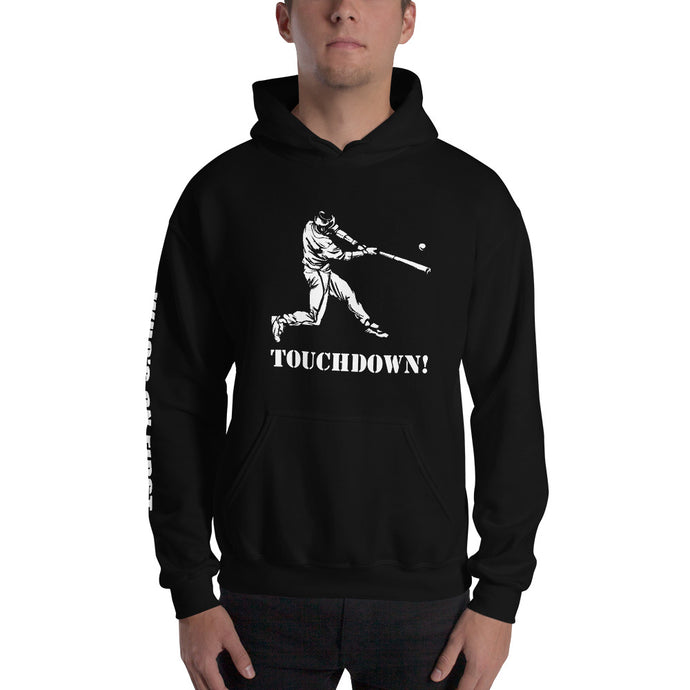 who's on first baseball touchdown hoodie with logo printed on sleeve black