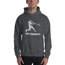 who's on first baseball touchdown hoodie with logo printed on sleeve dark heather