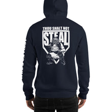 who's on first thou shalt not steal hoodie navy back