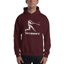 who's on first baseball touchdown hoodie with logo printed on sleeve maroon