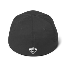 whos on first baseball dad structured cap logo on back dark grey