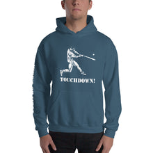 who's on first baseball touchdown hoodie with logo printed on sleeve indigo