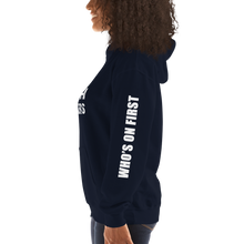 who's on first life's a pitch hit dingers softball hoodie side view with arm print