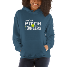 who's on first life's a pitch hit dingers softball hoodie front view indigo
