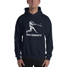 who's on first baseball touchdown hoodie with logo printed on sleeve navy