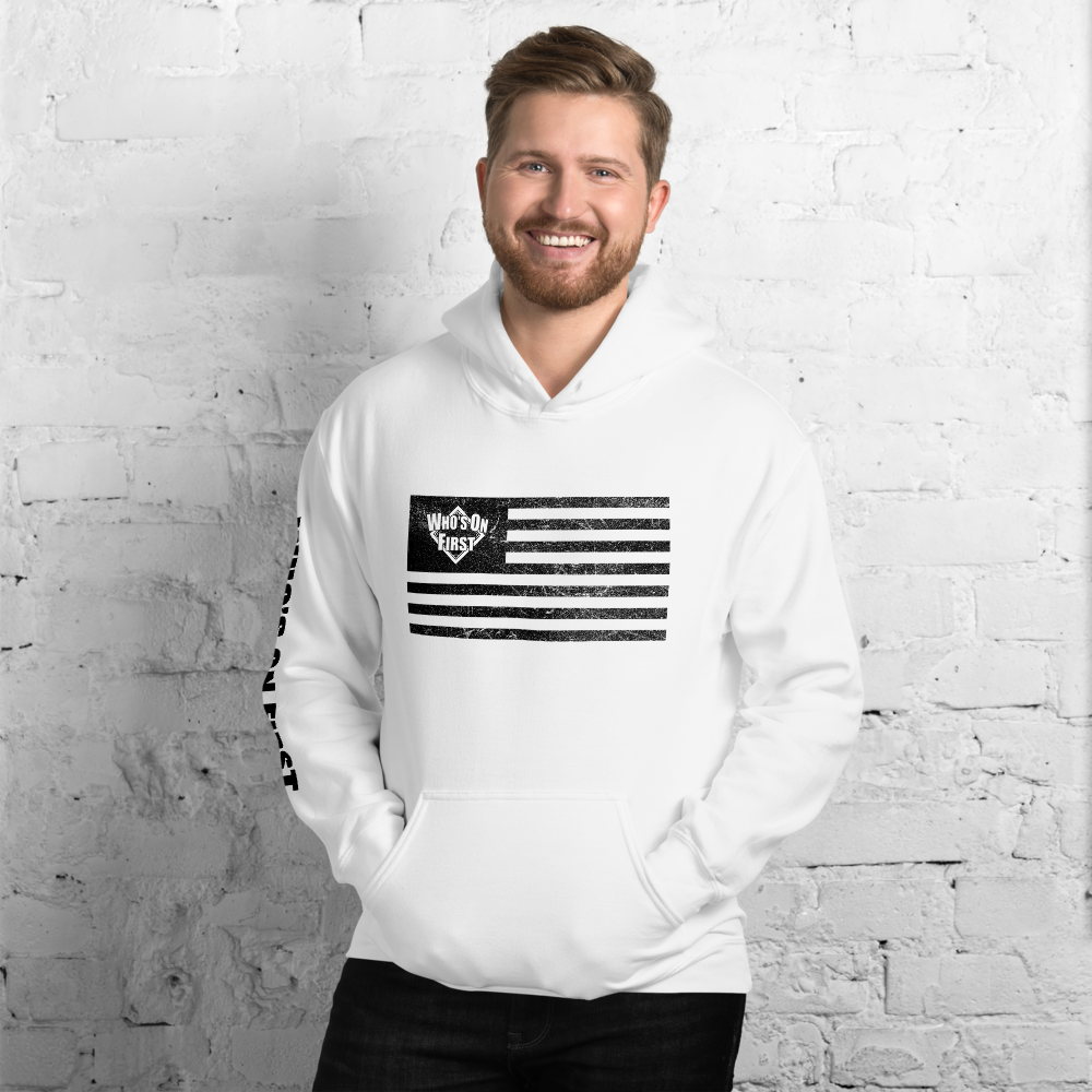 who's on first america's pastime hoodie american flag with logo white