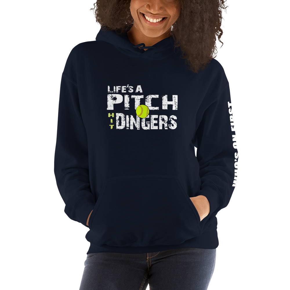 who's on first life's a pitch hit dingers softball hoodie front view navy