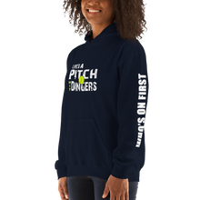 who's on first life's a pitch hit dingers softball hoodie angled front view navy