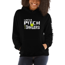 who's on first life's a pitch hit dingers softball hoodie front view black