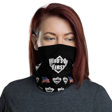 who's on first logo on black neck gaiter with american flag throughout design. woman wearing. front view