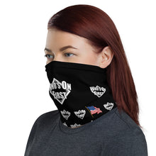 who's on first logo on black neck gaiter with american flag throughout design. woman wearing. left view