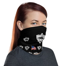 who's on first logo on black neck gaiter with american flag throughout design. woman wearing right view