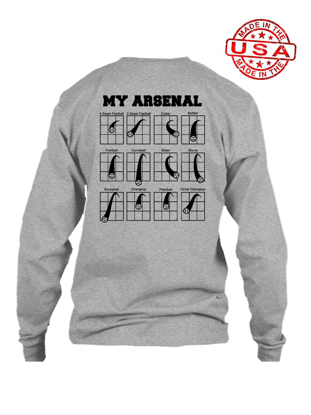 who's on first my arsenal long sleeve shirt heather grey