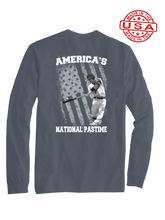 who's on first america's national pastime long sleeve shirt asphalt