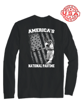 who's on first america's national pastime long sleeve shirt black