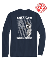 who's on first america's national pastime long sleeve shirt navy