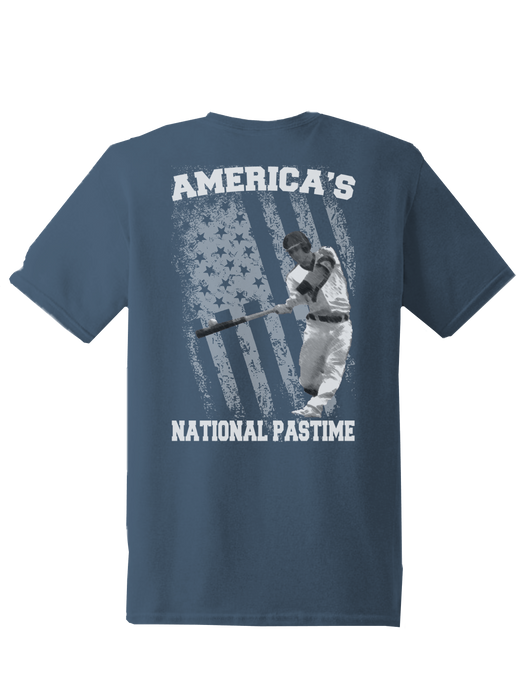 who's on first america's national pastime shirt steel blue
