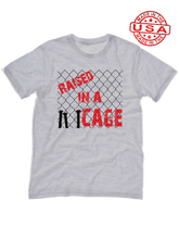 who's on first raised in a cage made in the usa t-shirt athletic heather