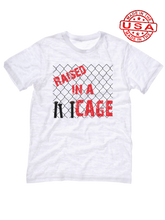 who's on first raised in a cage made in the usa t-shirt white