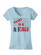 who's on first raised in a cage women's shirt baby blue