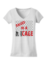 who's on first raised in a cage women's shirt white