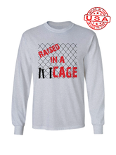 who's on first raised in a cage made in the usa long sleeve  t-shirt heather grey