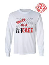 who's on first raised in a cage made in the usa long sleeve  t-shirt white
