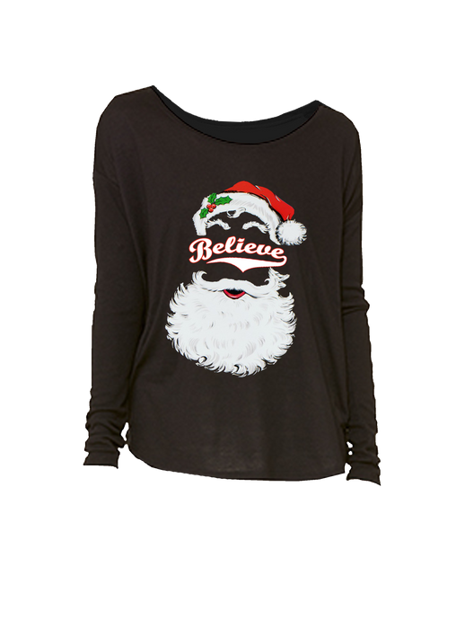 who's on first believe baseball santa chirstmas women's long sleeve shirt black