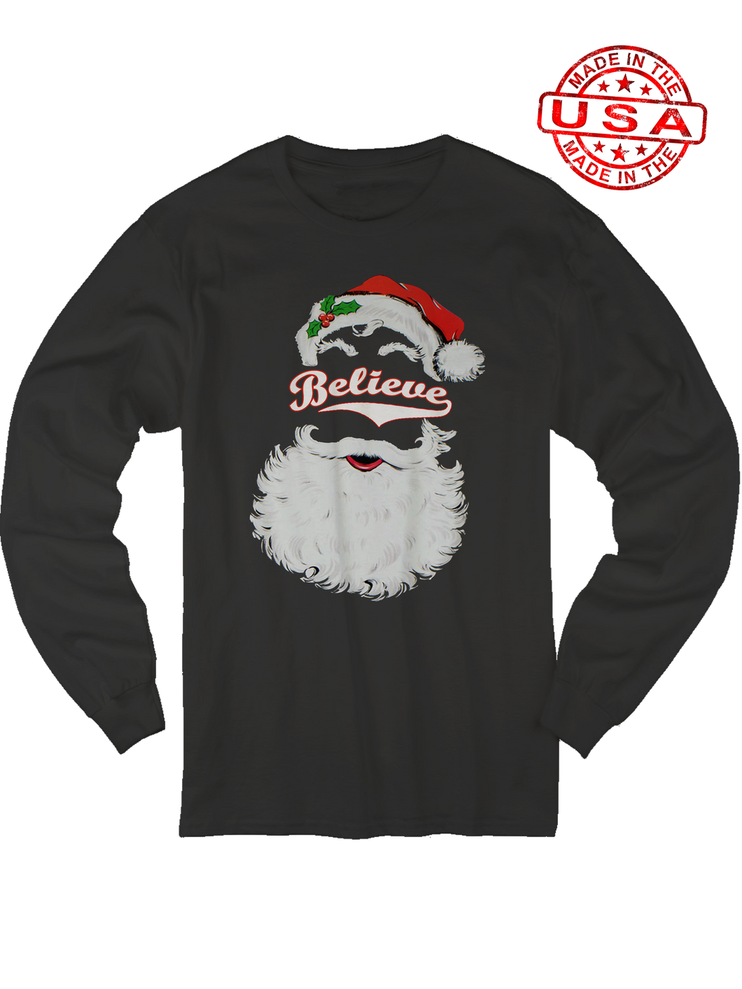 who's on first believe baseball santa chirstmas black