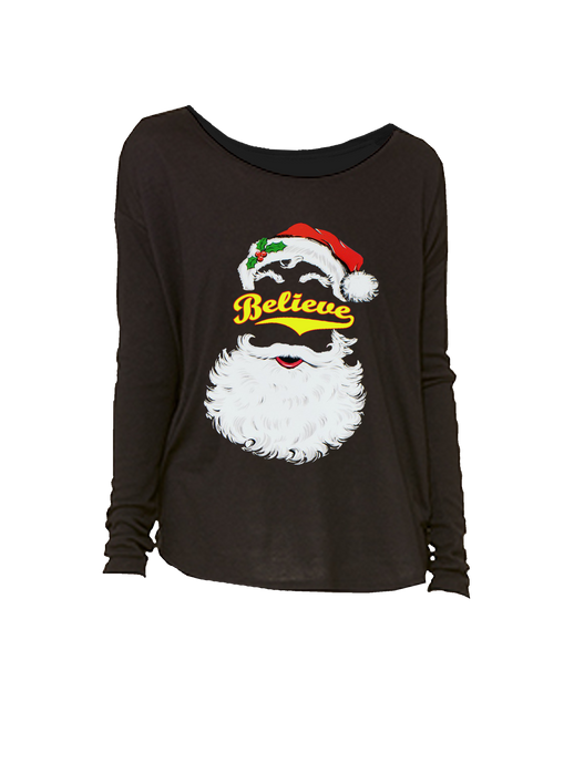 who's on first believe softball santa chirstmas women's long sleeve shirt black