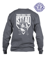 who's on first thou shalt not steal long sleeve shirt asphalt
